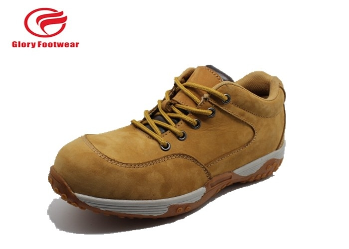 Cow Leather Casual PU Sole Safety Shoes , Hiking Steel Toe Cap Trainers Anti-Skidding
