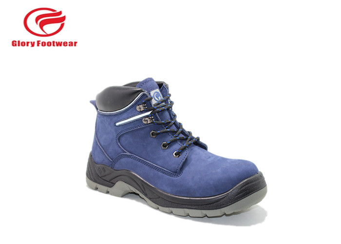 Blue Suede Leather Double Density Safety Shoes  For Engineers Anti Split Winter